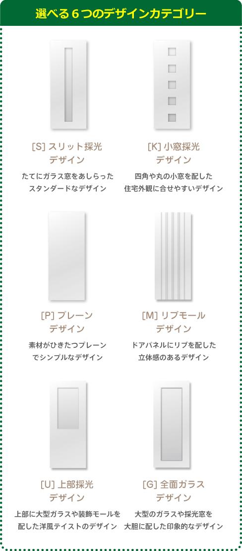 選べる6つのデザインカテゴリー