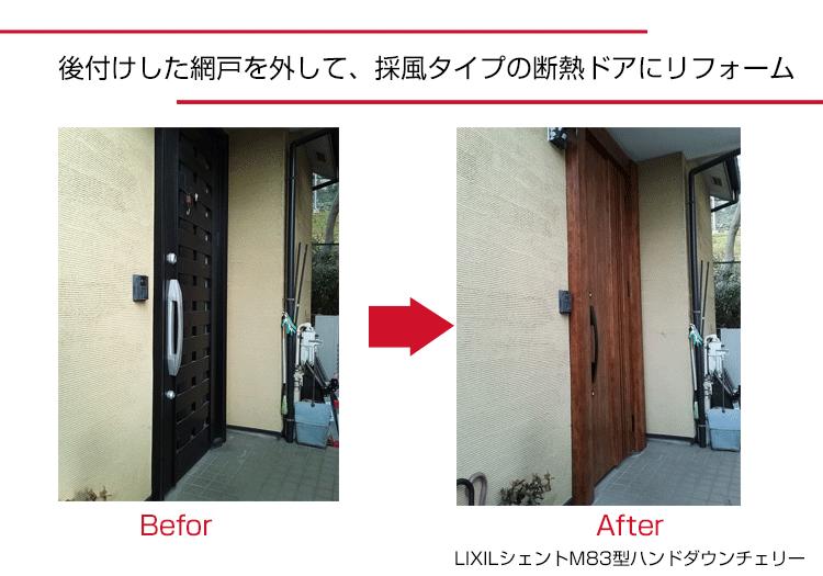 玄関ドアリフォーム,施工事例,茨城県,河内町